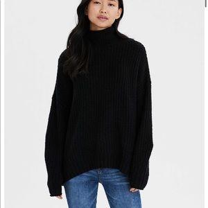 AMERICAN EAGLE Black Mock Neck Sweater